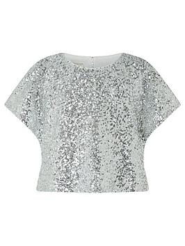 Monsoon Monsoon Girls Dawn Sequin Flutter Sleeve Top - Silver Picture