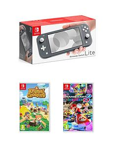 nintendo-switch-lite-grey-console-with-animal-crossing-new-horizon-amp-mario-kart-8-deluxe