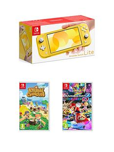 nintendo-switch-lite-yellow-console-with-animal-crossing-new-horizon-amp-mario-kart-8-deluxe