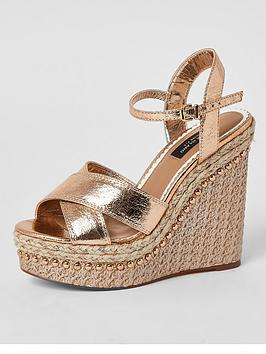 River Island River Island Wide Fit 2 -Part Wedge - Rose Gold Picture