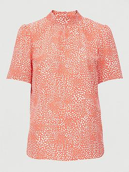 V by Very V By Very Short Sleeve High Neck Shell Top - Pink Print Picture