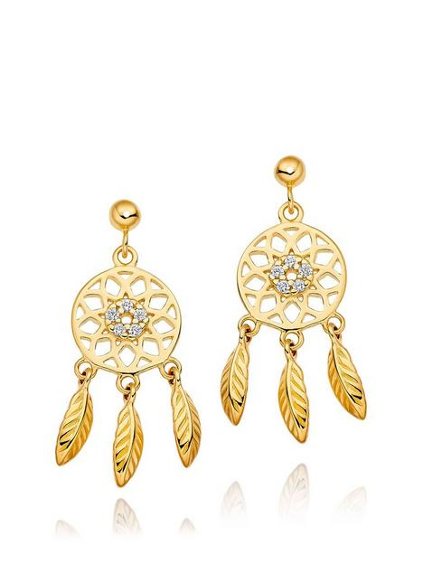 beaverbrooks-silver-18ct-gold-plated-cubic-zirconia-dream-catcher-earrings