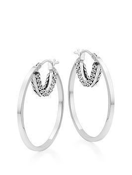 Beaverbrooks Beaverbrooks 9Ct White Gold Crystal Hoop Earrings Picture
