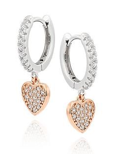 beaverbrooks-silver-rose-gold-plated-cubic-zirconia-heart-hoop-earrings