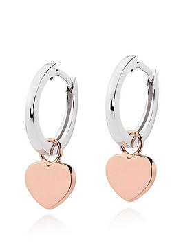 Beaverbrooks Beaverbrooks Silver And Rose Gold Plated Heart Hoop Earrings Picture