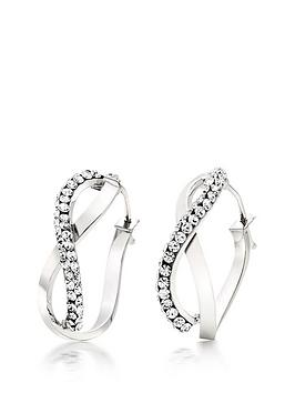 Beaverbrooks Beaverbrooks 9Ct White Gold Crytsal Hoop Earrings Picture