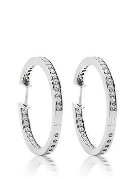 Beaverbrooks Beaverbrooks Silver Cubic Zirconia Round Hoop Earrings Picture