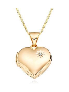 Beaverbrooks Beaverbrooks Mini B Childrens 9Ct Gold Diamond Heart Locket Picture