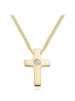 beaverbrooks-mini-b-childrens-9ct-gold-diamond-cross-pendant