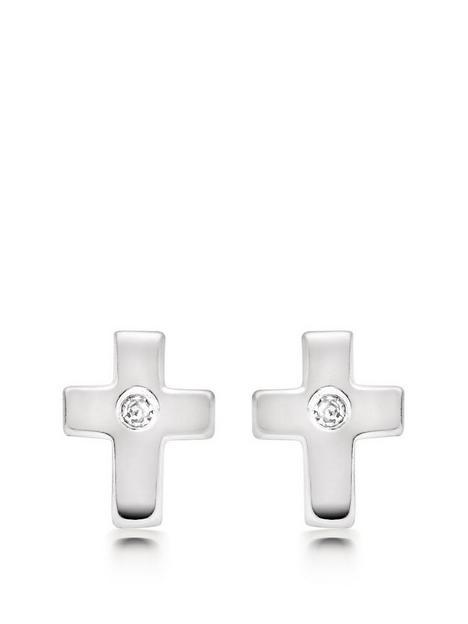 beaverbrooks-mini-b-childrens-silver-diamond-cross-earrings