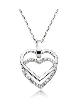 Beaverbrooks Beaverbrooks 9Ct White Gold Cubic Zirconia Double Heart  ... Picture