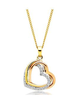 Beaverbrooks Beaverbrooks 9Ct Tri-Tone Gold Cubic Zirconia Heart Pendant Picture