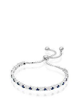 Beaverbrooks Beaverbrooks Silver Synthetic Sapphire And Cubic Zirconia  ... Picture