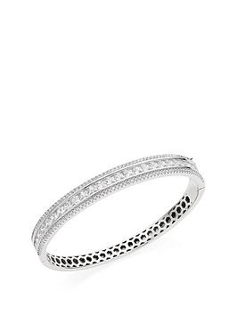 Beaverbrooks  Silver Cubic Zirconia Triple Row Bangle