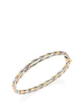 Beaverbrooks 9Ct Gold, White Gold And Rose Gold Bangle