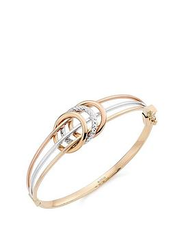 Beaverbrooks Beaverbrooks 9Ct Gold, Rose Gold And White Gold Sparkle Bangle Picture