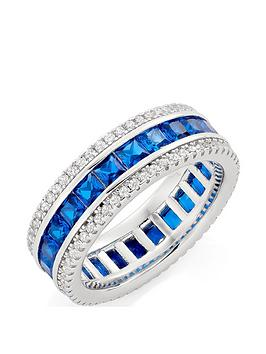 Beaverbrooks Beaverbrooks Silver Cubic Zirconia Blue Triple Row Ring Picture