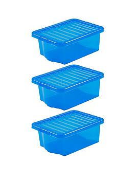 Wham Wham Set Of 3 Blue Plastic Crystal Storage Boxes Picture
