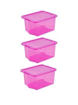 Wham Set Of 3 Pink Plastic Crystal Storage Boxes &Ndash; 35 Litres Each