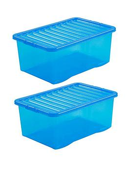 Wham Wham Set Of 2 Blue Plastic Crystal Storage Boxes &Ndash; 45 Litres  ... Picture