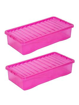 Wham Wham Set Of 3 Pink Plastic Crystal Underbed Storage Boxes Picture