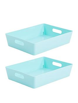 Wham Wham Set Of 2 Large Studio Baskets - Duck Egg Blue Picture