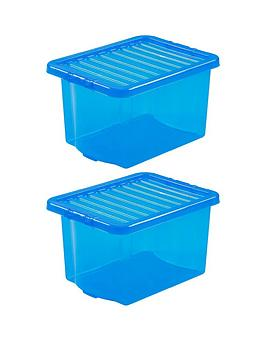 Wham Wham Set Of 2 Blue Crystal Plastic Storage Boxes Picture