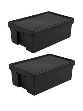 Wham Wham Set Of 2 Heavy Duty Recycled Plastic Storage Boxes &Ndash; 36  ... Picture