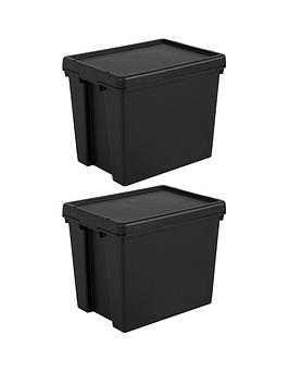 Wham Wham Set Of 2 Heavy Duty Recycled Plastic Storage Boxes &Ndash; 24  ... Picture