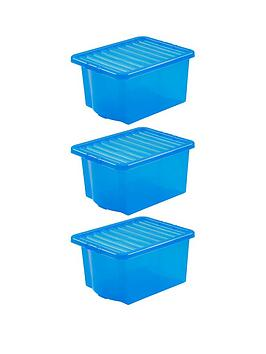 Wham Wham Set Of 3 Blue Plastic Crystal Storage Boxes &Ndash; 35 Litres  ... Picture