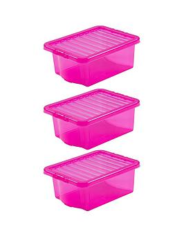 Wham  Set Of 3 Pink Plastic Crystal Storage Boxes &Ndash; 16 Litres Each