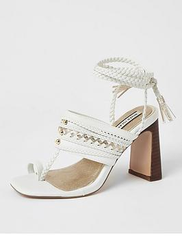 River Island River Island Toe Loop Plaited Lace Up Sandal - White Picture