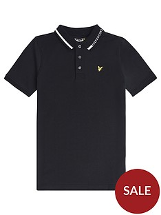 lyle-scott-boys-short-sleeve-branded-collar-polo-black
