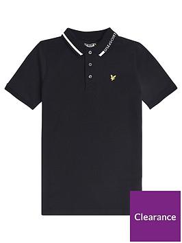lyle-scott-boys-short-sleeve-branded-collar-polo-black