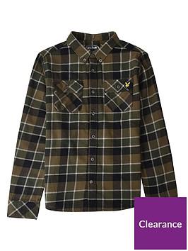 lyle-scott-boys-long-sleeve-khaki-check-shirt-khaki