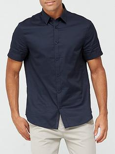 armani-exchange-short-sleeve-placket-logo-shirt-navy