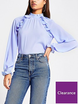 river-island-wire-frill-blouse-blue