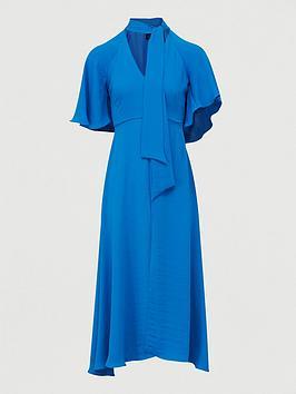 River Island River Island Tie Neck Midi Dress-Blue Picture