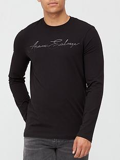 armani-exchange-signature-logo-long-sleeve-t-shirt-black