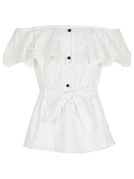 River Island River Island Girls Broderie Bardot Top - White Picture