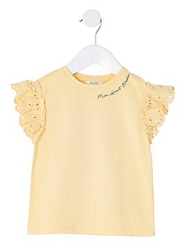 River Island River Island Girls Broderie Sleeve T-Shirt - Yellow Picture