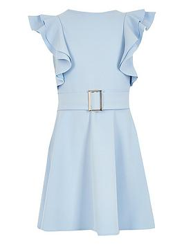 River Island River Island Girls Frill Sleeve Belted Dress-Blue Picture