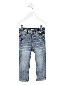 River Island River Island Mini Boys Washed Sid Skinny Jeans - Light Blue Picture