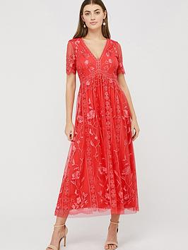 Monsoon Monsoon Valentina Embroidered Midi Dress - Coral Picture