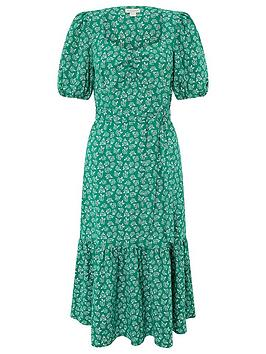 Monsoon Monsoon Roxie Rose Print Organic Cotton Dress - Green Picture