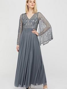 monsoon-fleur-embellished-flute-sleeve-dress-blue