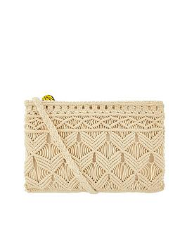 Accessorize Accessorize Macrame Cross-Body Bag - Natural Picture