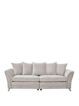 Product photograph showing Dury Fabric 4 Seater Scatter Back Sofa - Natural