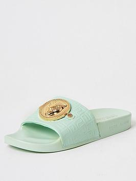 River Island River Island Embossed Charm Front Slides - Light Green Picture
