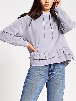 River Island River Island Frill Smock Hoodie - Lilac Picture